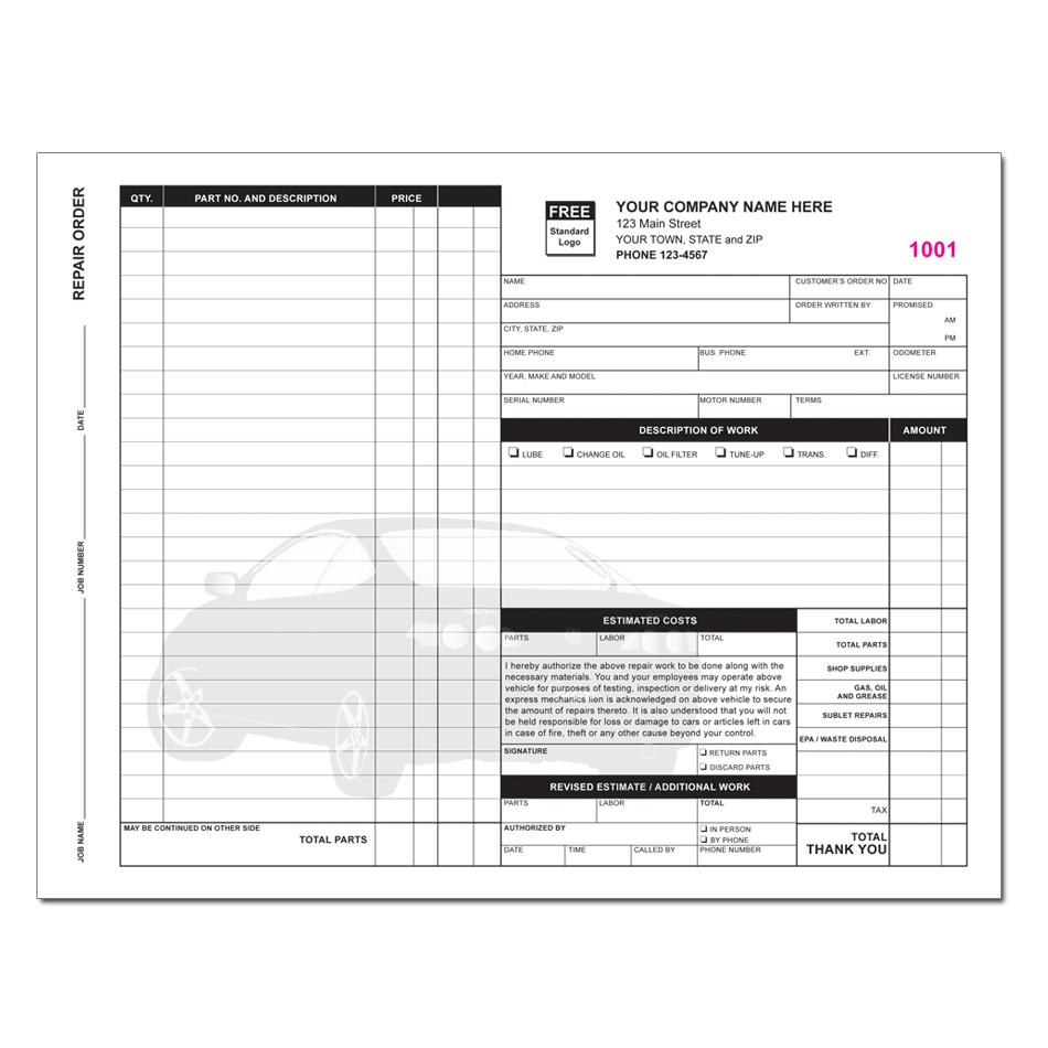 product details designsnprint garage repair invoice
