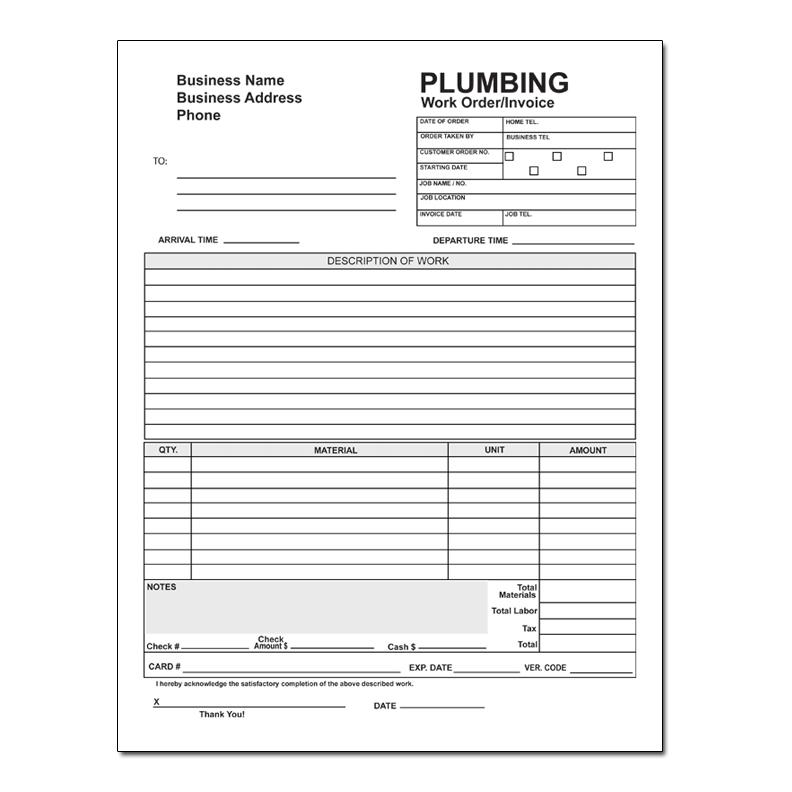 Plumbing Invoice Forms Work Orders Carbonless Form Printing Designsnprint