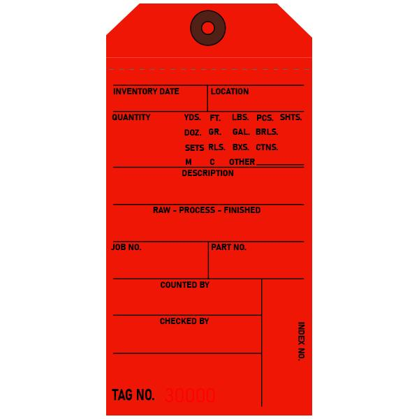 [Image: Red Inventory Tags, Custom Printed]
