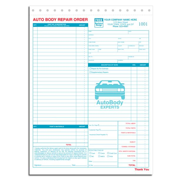auto repair orders forms