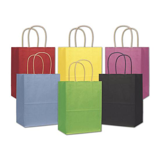"[Image: Colored Shopping Paper Bag With Handles, 8 1/4 X 4 3/4 X 10 1/2"", Retail Bags]"