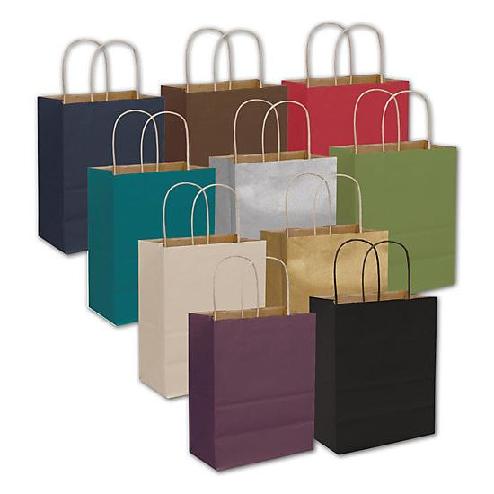 "[Image: Colored Kraft Shopping Paper Bag, 8 1/4 X 4 3/4 X 10 1/2"", Retail Bags]"