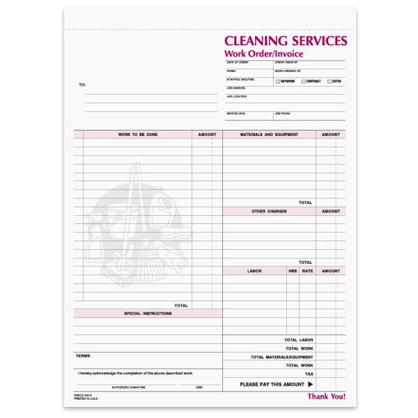 [Image: Janitorial Work Order Forms - 3-Part Carbonless Copies, Preprinted, Personalized]