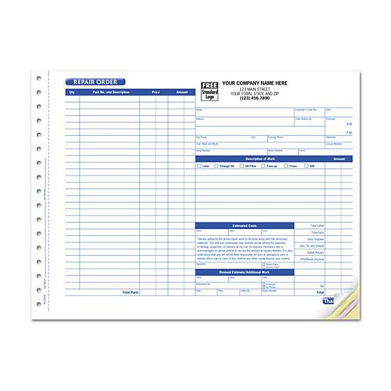 [Image: Garage Repair Order Form With Side-Stub, Carbonless, Large]