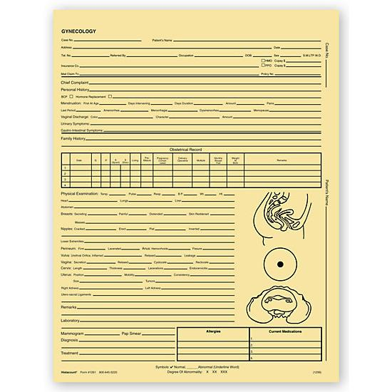 [Image: Gynecology Exam Records, Two - Sided, Letter Style, Buff]