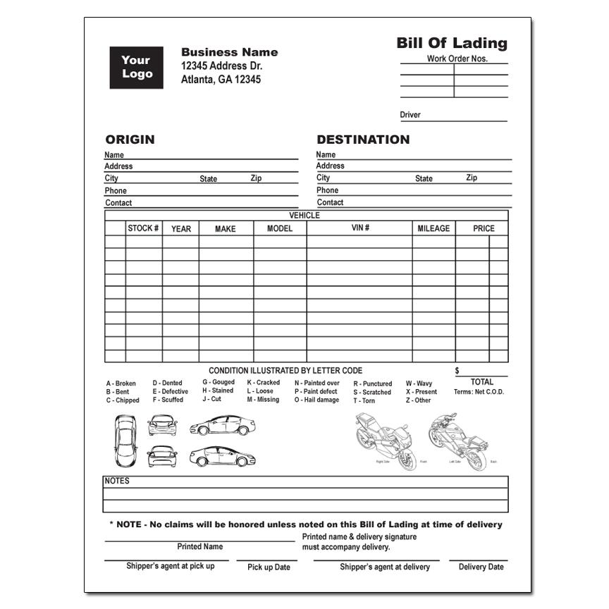 [Image: Vehicle Bill of Lading]