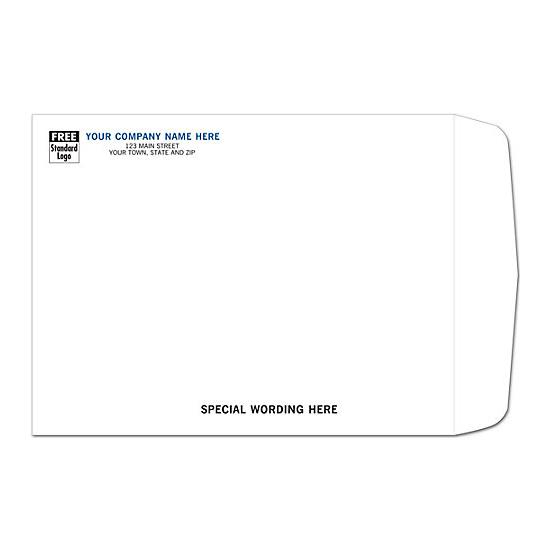 [Image: White Mailing Envelope with Return Address Printed, 9 1/2 X 12 1/2]