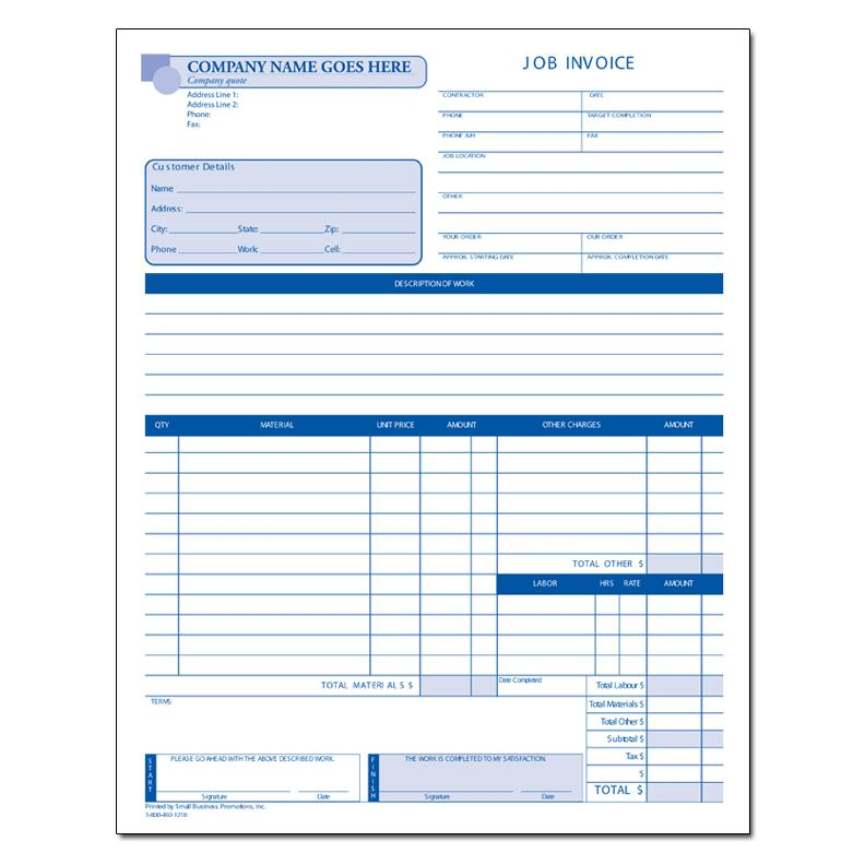 [Image: Custom Invoice Form - Customized Bill with Logo, 2 or 3-Part Carbonless Form, Loose Sets or 50 Per Book]