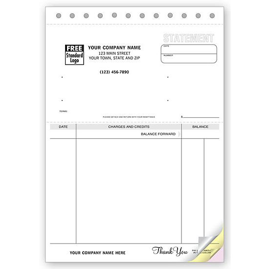 "[Image: Statement of Accounts - Manual Business Account Statement, Pre Printed, Personalized, Carbonless Form, 6 3/8 x 8 1/2""]"