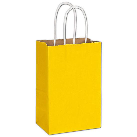 "[Image: Small Yellow Shopping Paper bag, 5 1/4 X 3 1/2 X 8 1/4"", Retail Bags]"