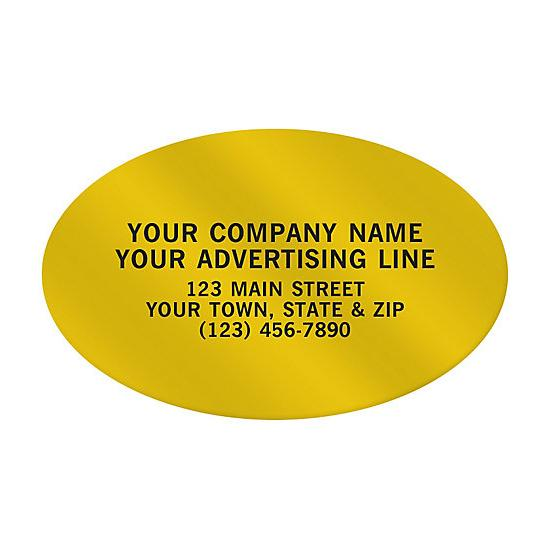 "[Image: Oval Paper Label 2 X 1 1/4"" - Custom Printed]"