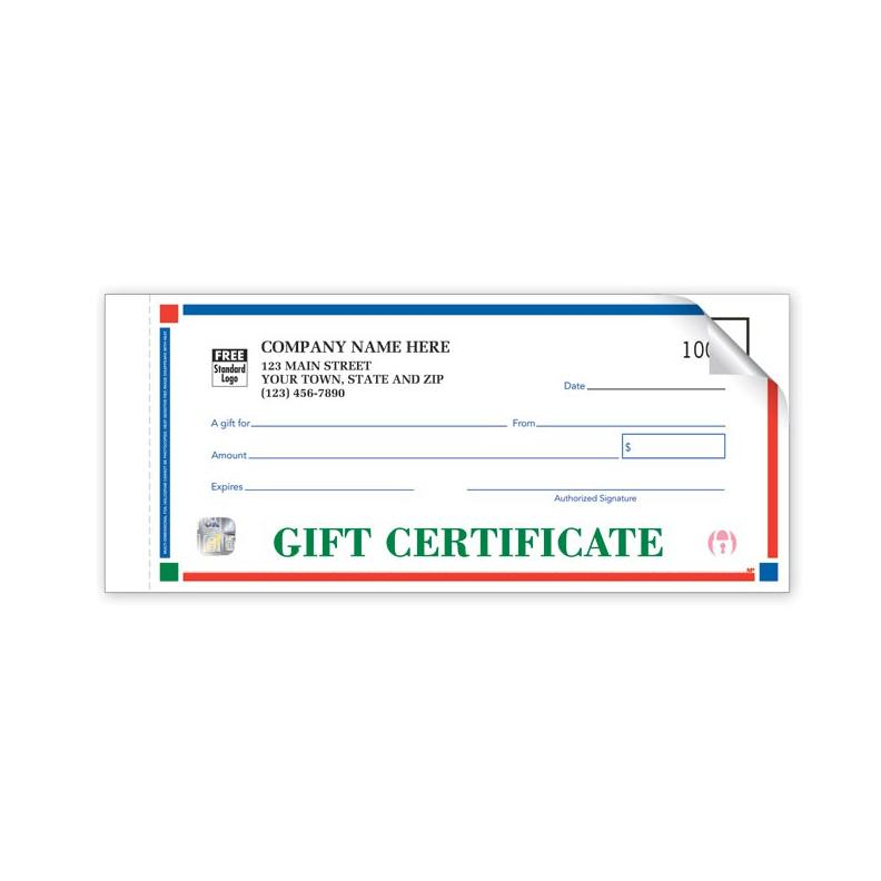 [Image: HS854A, High Security Primary-Color Gift Certificates-Individual Set]