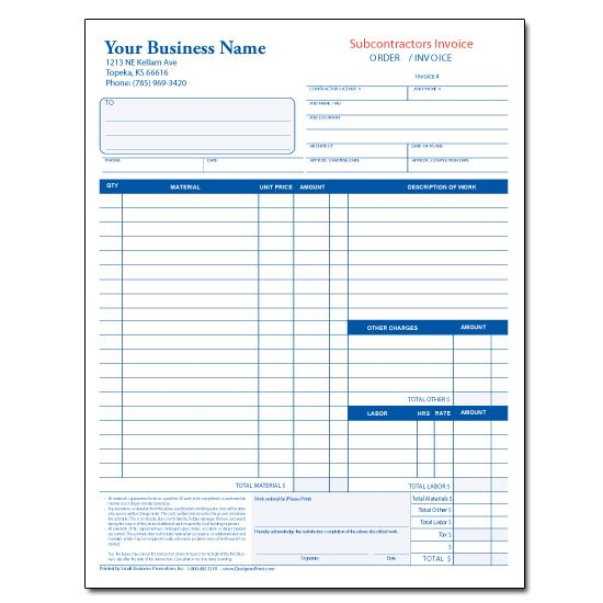 [Image: Subcontractor Invoice Form]