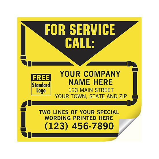 "[Image: Plumbing Service Stickers - Durable Waterproof Labels, Personalized Printing, Yellow Vinyl Stock, Large 5 x 5""]"