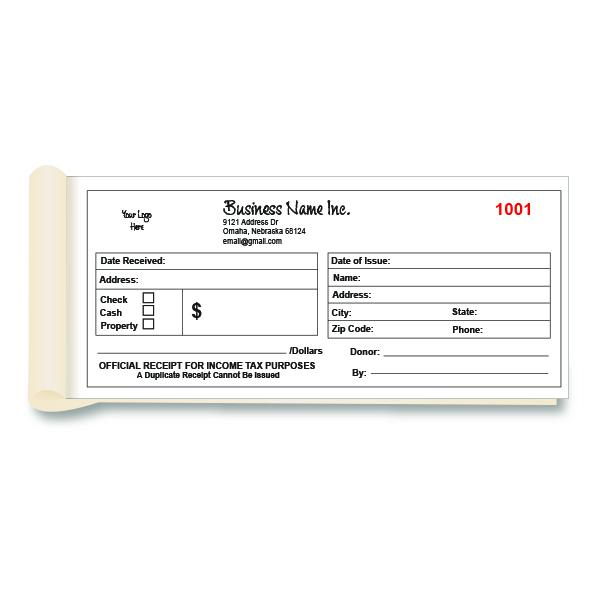 [Image: Donation Receipt Book Printing - Custom Non Profit Receipts]