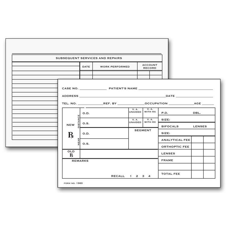 [Image: Optometry Record Card, Two - Sided]