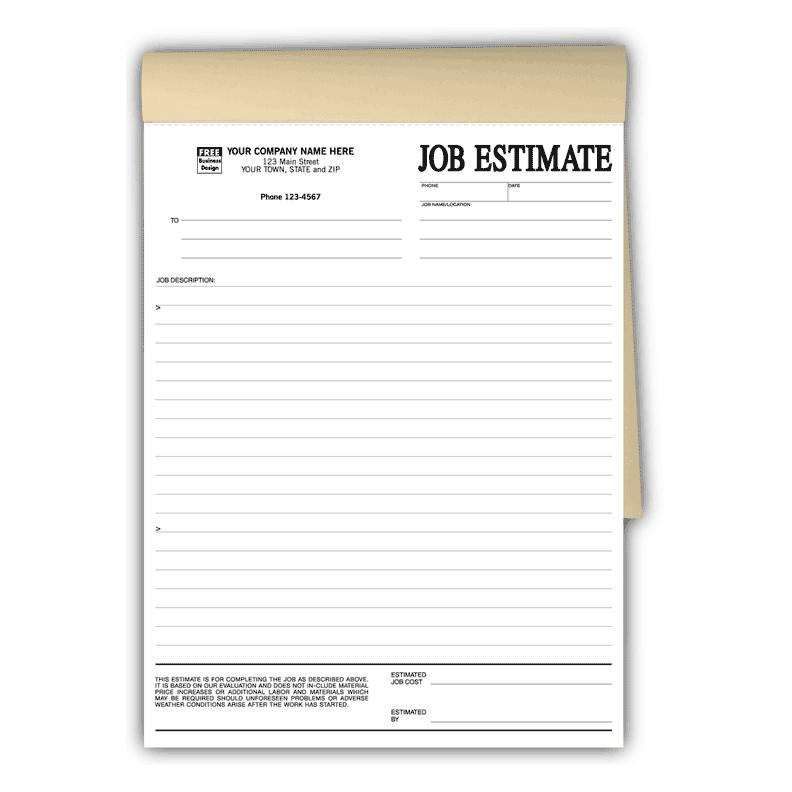 [Image: Job Estimates Form, Book Format]