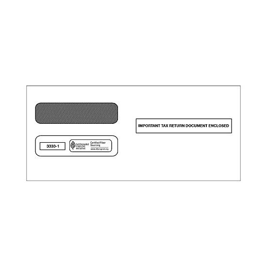 [Image: 2017 3-Up Horizontal Laser W-2 Double-Window Envelope]