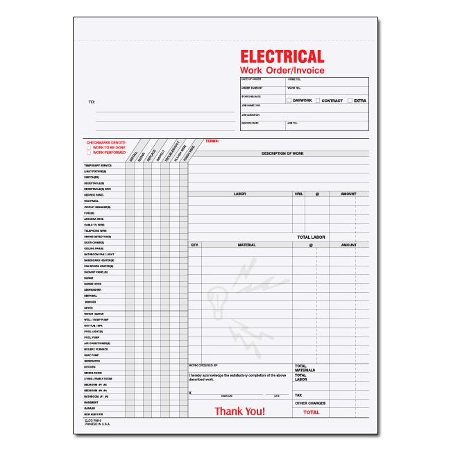 [Image: Building Electrician Work Order Invoice]