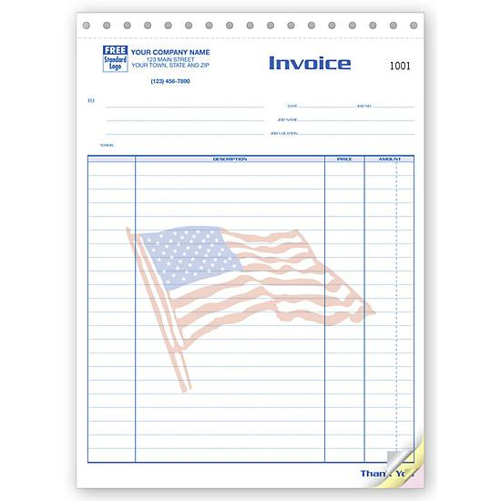 [Image: Job Invoice With American Flag - Large Patriotic]