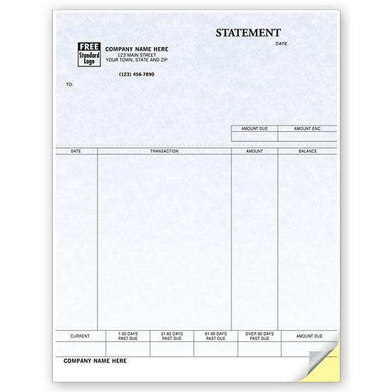 [Image: Billing Statement, Laser and Inkjet Compatible, Parchment, Custom Printed]