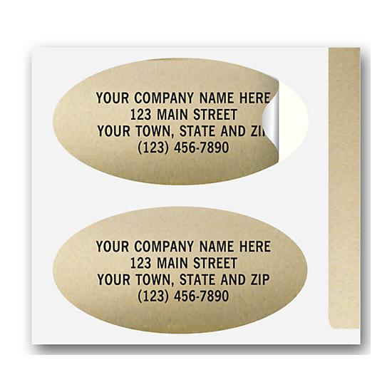 "[Image: Advertising Labels - Personalized,  Padded, Paper, Gold Foil, Oval, Permanent Adhesive, 1 1/2 x 3/4""]"