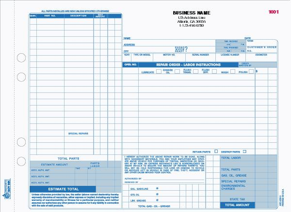 [Image: Automotive Repair Form with Manila Back]