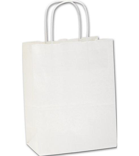 [Image: Recycled White Kraft Paper Shoppers Cub Bags]