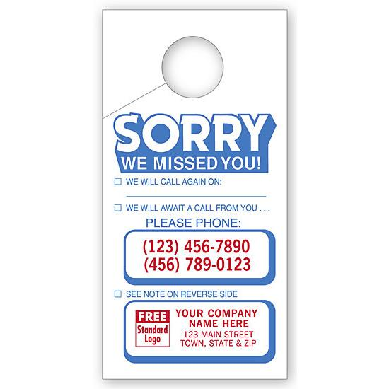 [Image: Sorry We Missed You Door Hangers]