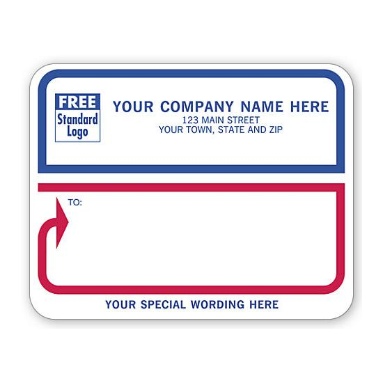 [Image: Jumbo Mailing Labels, Padded, White With Blue-Red Border]