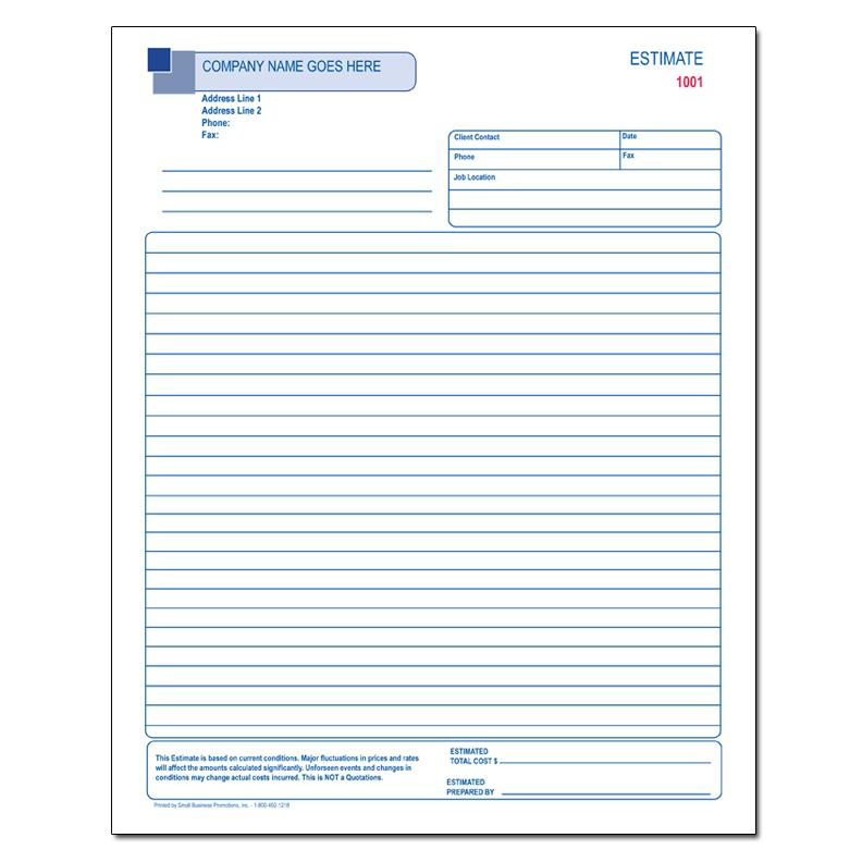 "[Image: Contractor Work Order - Custom Printed, 2 or 3-Part Carbonless Form, Large 8 1/2 x 11"", Loose Sets or 50 Per Book]"