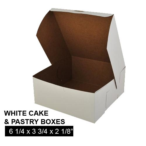 [Image: WHITE CAKE AND PASTRY BOX 6 1/4 x 3 3/4 x 2 1/8]