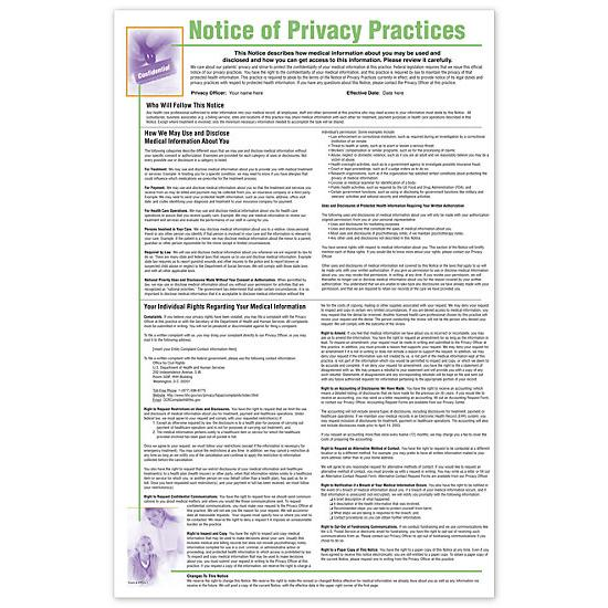 [Image: Notice Of Privacy Practices HIPAA Poster, Personalized]