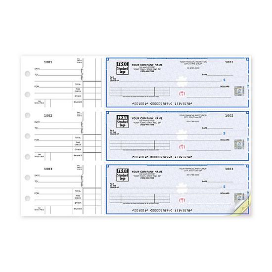[Image: 3-On-A-Page Business Size Checks, With Side-Tear Vouchers 53222DS]