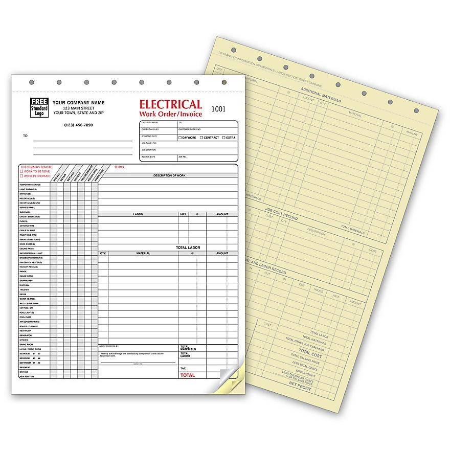 [Image: Electrical Work Order - 3-Part Carbonless Copies, Preprinted Checklist, Personalized]