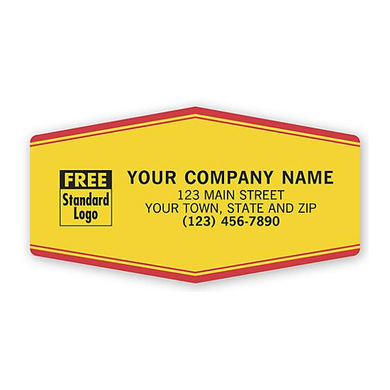 [Image: Tuff Shield Service Sticker - Durable Labels, Laminated, Yellow With Red Border, Personalized Printing]