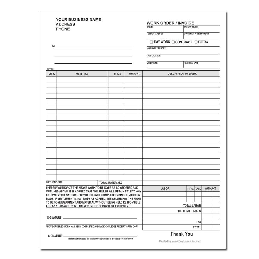 [Image: Custom Work Order Forms - 2 or 3-Part, Carbonless Copies, Business Form Printing]