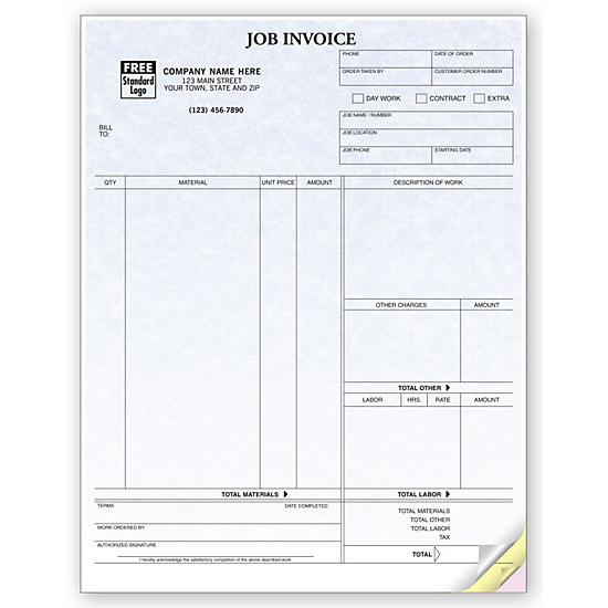 [Image: Job Invoice Contract Form, Parchment, Laser and Inkjet Compatible]