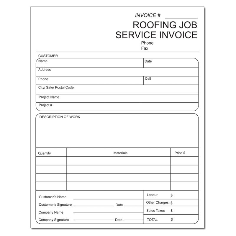 [Image: Roofing Invoice - Custom Printed, 2 or 3-Part Forms, Carbonless Copies, 8 1/2 x 11]