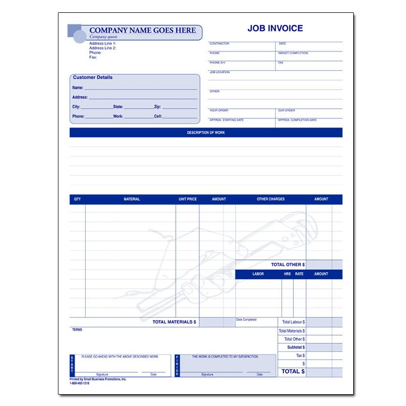 carbonless job invoice form