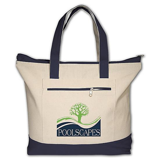 [Image: Zippered Cotton Boat Tote - Personalized]