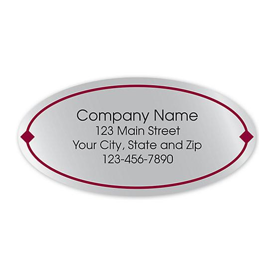 [Image: Oval Label On Silver Poly With Red Border 2x1]