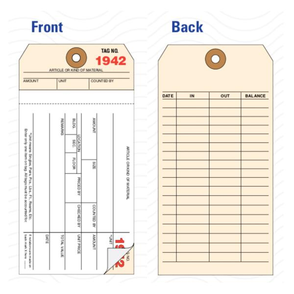 "[Image: 2-Part Carbonless Inventory Tag - Carbonless Copies, Preprinted, Prenumbered, 3 1/8"" x 6 1/4"", Box of 500]"